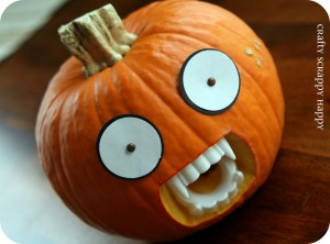 Pumpkin with fangs from Crafty Scrappy Happy blog