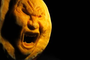 3D carved pumpkin face from Smith the Pumpkin Carver