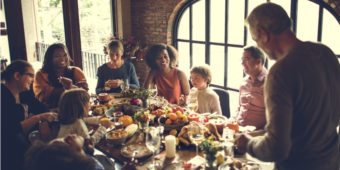 Family enjoying holiday turkey dinner