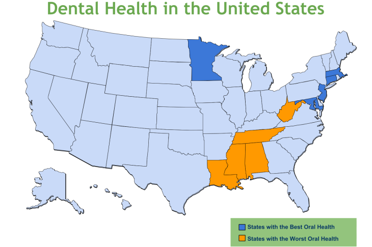 Which States Have The Worst Oral Health 1dental Com Blog
