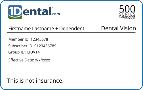 1Dental Membership Card with Dependent