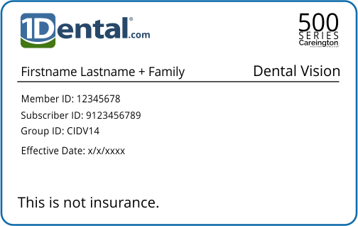 1Dental Membership Card with Familyi