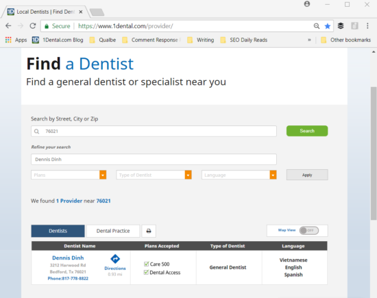 1Dental Dentist Search