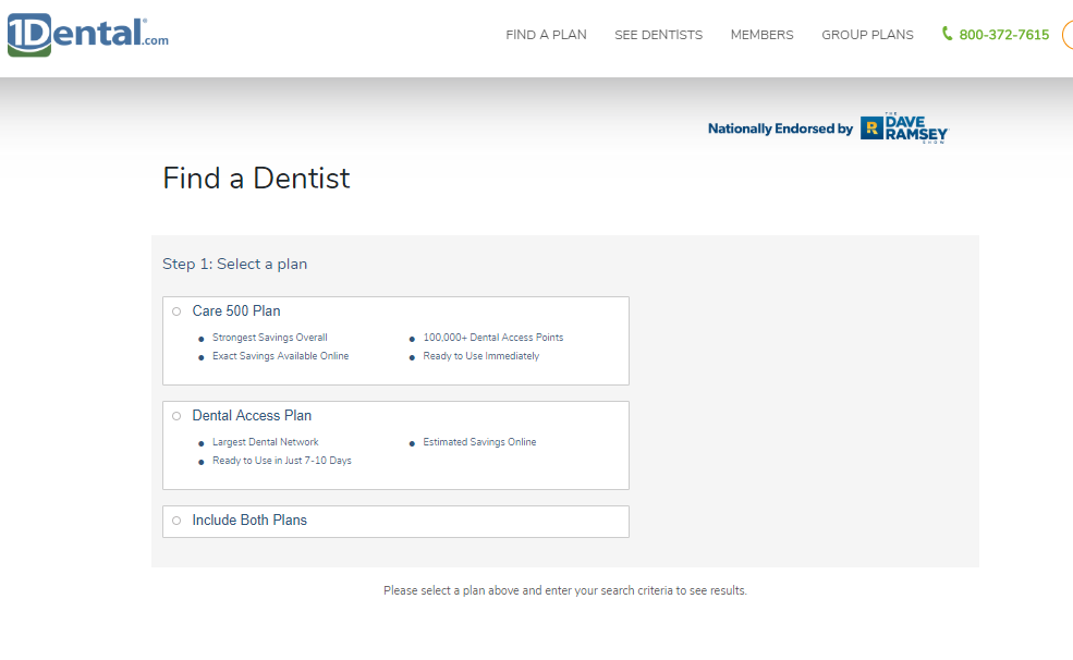 Find a Dentist Search with 1Dental