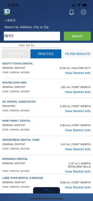 1Dental Mobile App Dentist Search